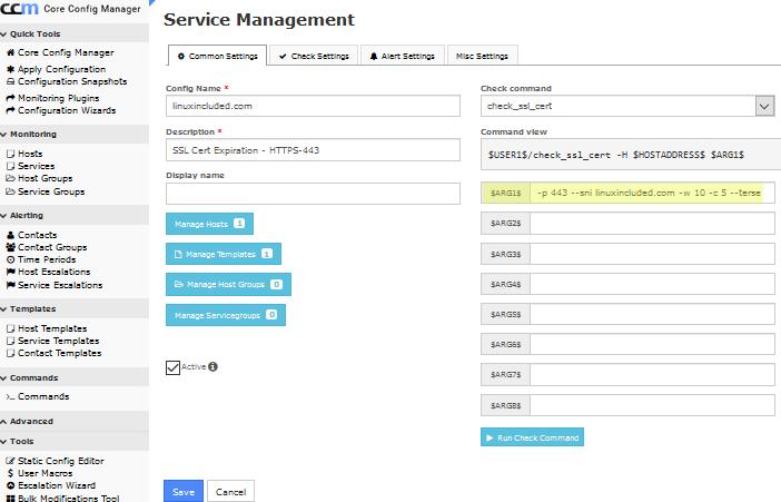 Check SSL Cert Service in Nagios XI