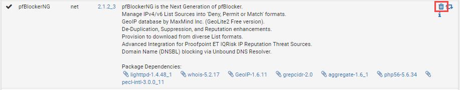 Delete pfBlockerNG