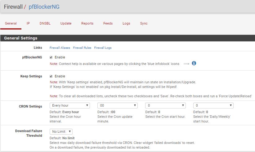 New pfBlockerNG main page