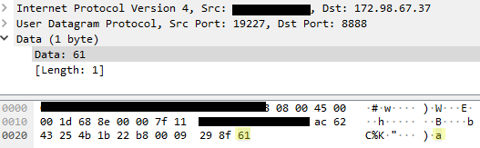 Wireshark packet data from PIA