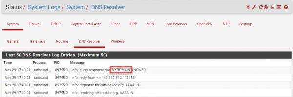 pfSense DNS Resolver NXDOMAIN