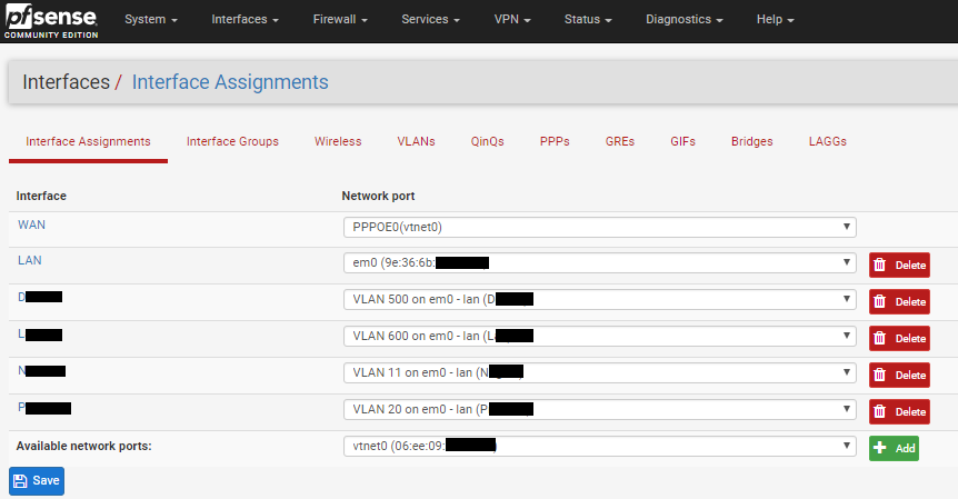 vlan interfaces on pfsense