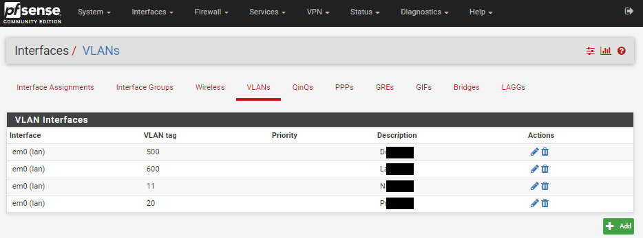 creating vlans on pfsense