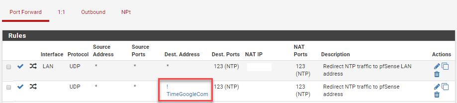 pfSense separate NAT NTP rule