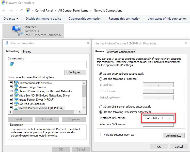 pi-hole Windows DNS settings changes