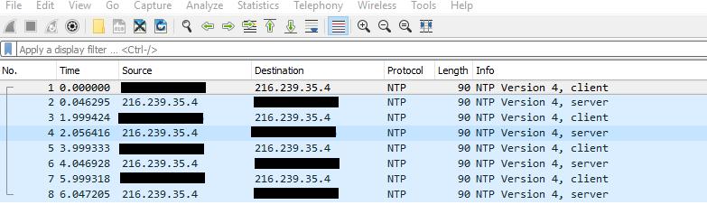 Wireshark NTP traffic
